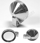 Deluxe Chrome Flat Side View Mirror and Mount