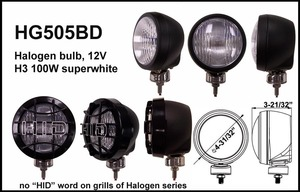 4-31/32 Inch Steel Powder Coat 12V 100W Superwhite Driving Light Clear