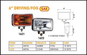 6-Inch Chrome 12V 55W Fog Amber Halogen Light