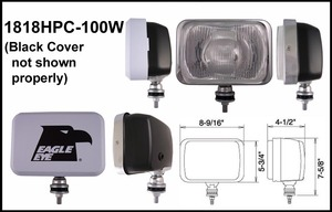 9-Inch Black 12V 100W Clear Halogen Driving Light