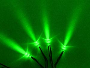 4 Pack Single LEDs with 3 Foot  Cord  Green