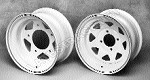 Steel Spoke Wheels 4-Lug 7 Inch White 3-1/2 Back Space