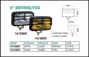 6-1/8 Inch Chrome 12V 55W Driving Clear Light with Guard