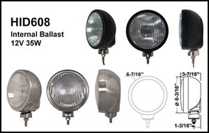 6-3/16 Stainless Steel 35W Internal Ballast HID Driving Light Clear